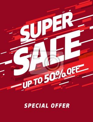 Szablon czerwony sztandar, oferta specjalna Big sprzedaży. Ilustracji wektorowych.