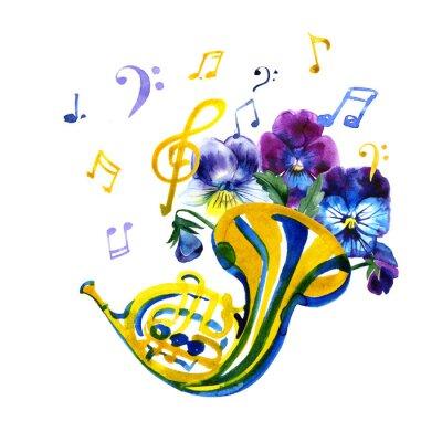 Obraz Szablon graficzny instrumentów muzycznych. Letnia ilustracja akwarela. Waltornia.