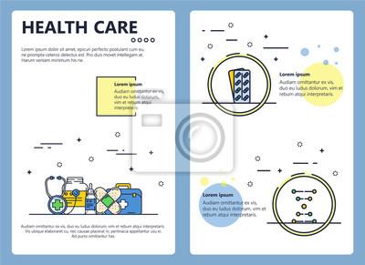 Szablon linii opieki zdrowotnej plakat sztuka wektor opieki