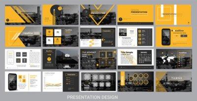 Obraz szablon prezentacji dla promocji, reklamy, ulotki, broszury, produktu, raportu, baneru, biznesu, nowoczesnego stylu na czarno-żółtym tle. ilustracji wektorowych