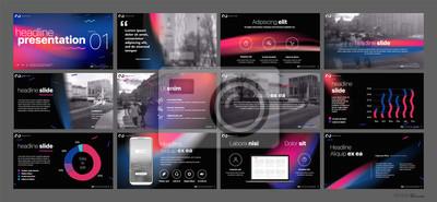 Obraz Szablon prezentacji. Elementy gradientowe dla prezentacji slajdów na białym tle. Używaj również jako ulotki, broszury, raporty firmowe, marketing, reklamy, raporty roczne, banery. Wektor