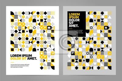 Szablon projektu broszury o prostym kształcie i rysunku. Streszczenie wektor wzór w skandynawskim stylu na baneru internetowego, prezentacji biznesowych, pakiet marki, druk tkaniny, tapety
