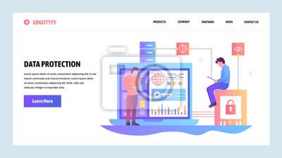 Obraz Szablon projektu gradientu witryny sieci Web. Ochrona danych, bezpieczeństwo cybernetyczne i bezpieczne logowanie. Koncepcje strony docelowej dla rozwoju strony internetowej i mobilnej. Nowoczesna ilu
