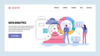 Obraz Szablon projektu gradientu witryny sieci Web wektor. Analityka danych, pulpit nawigacyjny i raport finansów przedsiębiorstw. Koncepcje stron docelowych do tworzenia witryn i urządzeń mobilnych. Nowocz