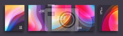 Obraz Szablon projektu nowoczesne okładki. Płynne kolory. Zestaw modnych kształtów gradientu holograficznego do prezentacji, czasopism, ulotek, raportów rocznych, plakatów i wizytówek. Wektor EPS 10