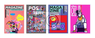 Obraz Szablon projektu okładki i plakatu dla magazynu. Modna Wektorowa typografia i Kolorowy Ilustracyjny kolaż dla szablonu okładki i układu strony Projektujemy w eps10.