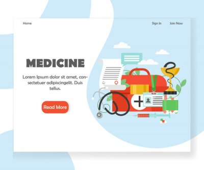 Szablon projektu strony docelowej strony internetowej medycyna wektor