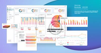 Szablon pulpitu nawigacyjnego plansza z płaskich wykresów i wykresów. Informacje Elementy graficzne. EPS 10