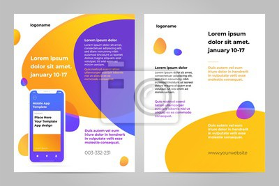 Szablon ulotki mobilnej aplikacji. Biznes broszura projekt układ ulotki.