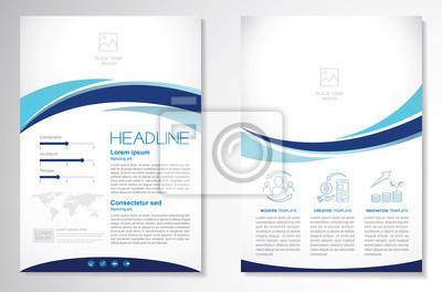 Obraz Szablon wektor dla broszury, AnnualReport, magazyn, plakat, prezentacja korporacyjna, portfolio, ulotka, infografika, układ nowoczesny z niebieskim kolorem A4, z przodu iz tyłu, łatwy w użyciu i edycj