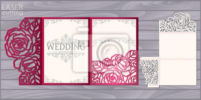 Obraz Szablon wektor wesele karty wyciąć laserowo. Koperta z trójkątną kieszenią na zaproszenie z wzorem róż. Ślubna koronka zaproszenia makieta.