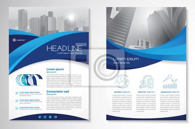 Obraz Szablon wektor wzór dla broszury, roczne sprawozdanie, magazyn, plakat, prezentacja korporacyjna, portfolio, ulotka, infografika, układ nowoczesny z niebieskim kolorem A4, z przodu iz tyłu, łatwy w uż