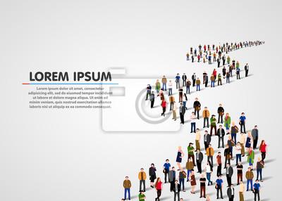Obraz Szablon z tłumem ludzie biznesu stoi w linii. Tłum ludzi. Ilustracji wektorowych