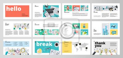Obraz Szablony prezentacji biznesowych. Elementy infografiki wektorowe płaskie do prezentacji slajdów, raport roczny, marketing biznesowy, broszura, ulotki, projektowanie stron internetowych i baner, prezen