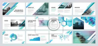 Obraz Szablony prezentacji biznesowych. Zestaw elementów infografiki wektorowej dla slajdów prezentacyjnych, raport roczny, marketing biznesowy, broszura, ulotki, projektowanie stron www i banner, prezentac