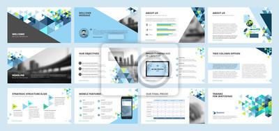 Obraz Szablony prezentacji firmy. Zestaw elementów infografiki wektorowej dla slajdów prezentacyjnych, raport roczny, marketing biznesowy, broszura, ulotki, projektowanie stron www i banner, prezentacja fir