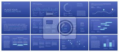 Szablony prezentacji na niebieskim tle. Infografiki wektor. Użyj w prezentacji, ulotce i ulotce, raporcie korporacyjnym, marketingu, reklamie, raporcie rocznym, baneru.