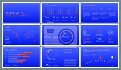 Obraz Szablony prezentacji na niebieskim tle z pomarańczowymi elementami. Infografiki wektor. Użyj w prezentacji, ulotce i ulotce, raporcie korporacyjnym, marketingu, reklamie, raporcie rocznym, baneru.