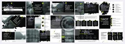 Obraz Szablony prezentacji wektorowych z elementami plam atramentowych, plamy farby. Infografiki wektor Wykorzystanie w prezentacji, ulotce i ulotce, raporcie korporacyjnym, marketingu, reklamie, raporcie r