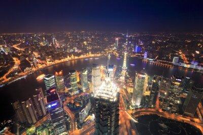 Obraz Szanghaj w nocy z widokiem