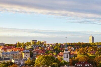 Szczecin cityscape at beautiful sunrise, Poland.