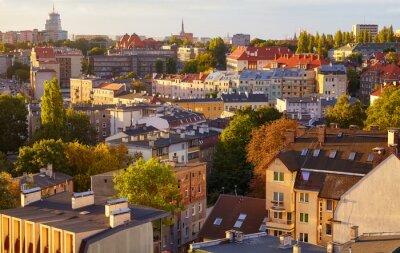 Szczecin cityscape at sunrise, Poland.