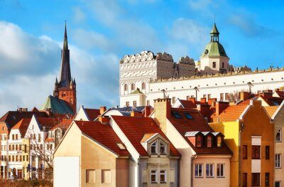 Szczecin cityscape including Ducal Castle bailey and cathedral tower on the left, Poland.