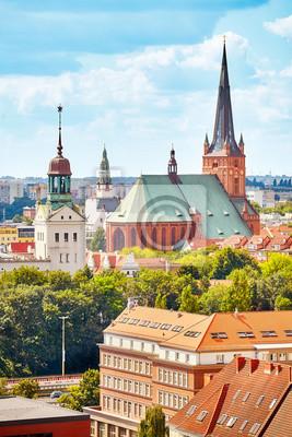 Szczecin cityscape w słoneczny dzień, Polska, Europa.