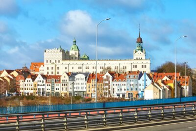 Szczecin cityscape with Ducal Castle seen from the city main highway entrance, Poland.