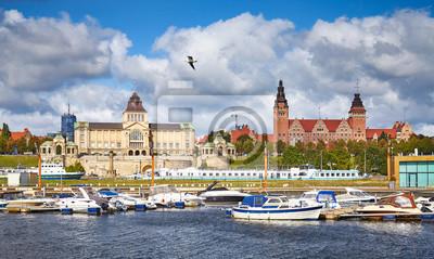 Szczecin cityscape with marina on a sunny day, Poland