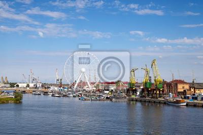 Szczecin Lasztownia Island panoramic view, Poland.
