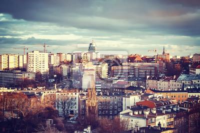 Szczecin Miasto o zachodzie słońca, kolor stonowanych obraz, Polska.