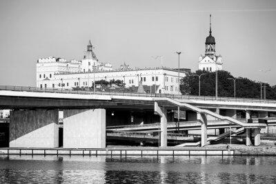 Szczecin Odra River waterfront with the Pomeranian Dukes Castle, Poland.