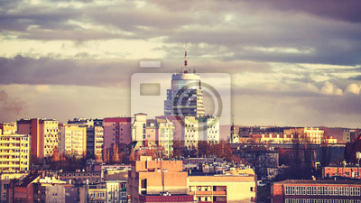 Szczecin panoramę miasta o zachodzie słońca, kolor stonowanych obraz, Polska.
