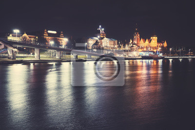 Szczecin (Stettin) City skyline w nocy, vintage, stonowanych obraz, Polska.