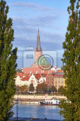 Szczecin (Stettin) cityscape at sunrise, Poland