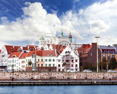 Szczecin (Stettin) Miasto nabrzeże widok, Polska.