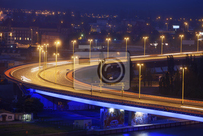 Szczecin (Stettin), Miasto w nocy, Polska.