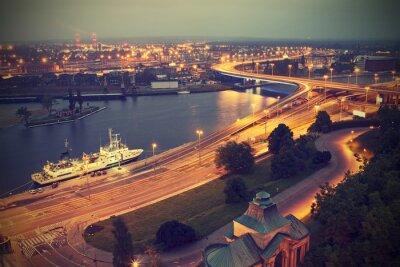 Szczecin (Stettin), Miasto w nocy, Polska, rocznika efekt.