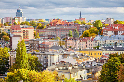 Szczecin (Stettin) pejzaż jesienią, Polska.