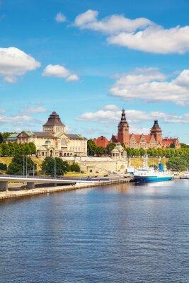 Szczecin waterfront with Chrobry Embankment, Poland.