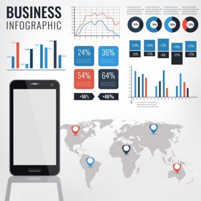 Szczegó? Y ilustracji wektorowych infographic. Mapa świata i grafika informacyjna z telefonem z ekranem dotykowym.