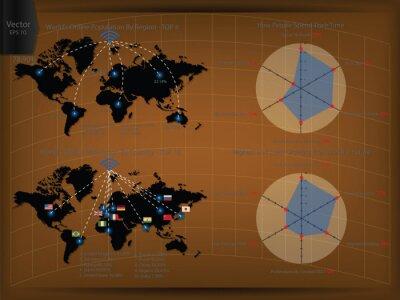 Szczegół Infographic Wektorowa ilustracja, Światowa mapa i Ewidencyjne grafika z Online populacją w świacie, wektor EPS 10.