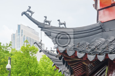 Obraz Szczegół tradycyjny chińczyk wyginający się upwards dach, Szanghaj