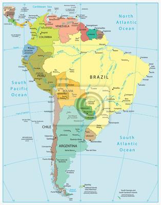 Szczegółowa mapa Ameryka Południowa