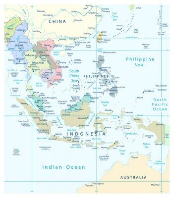 Obraz Szczegółowa mapa Azji Południowo-Wschodniej