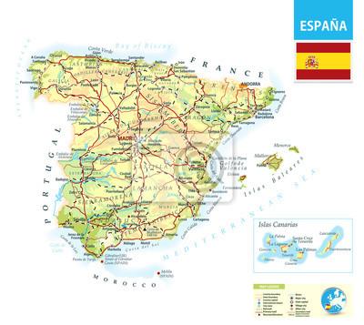 Szczegółowa mapa fizyczna Hiszpanii