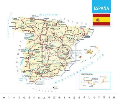 Szczegółowa mapa Hiszpanii