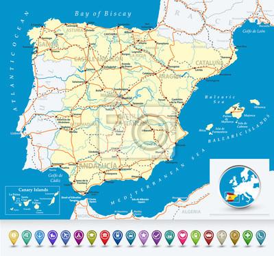 Szczegółowa mapa Hiszpanii z bubble ikon