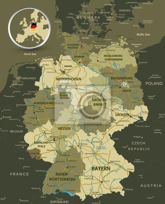 Szczegółowa mapa Niemiec